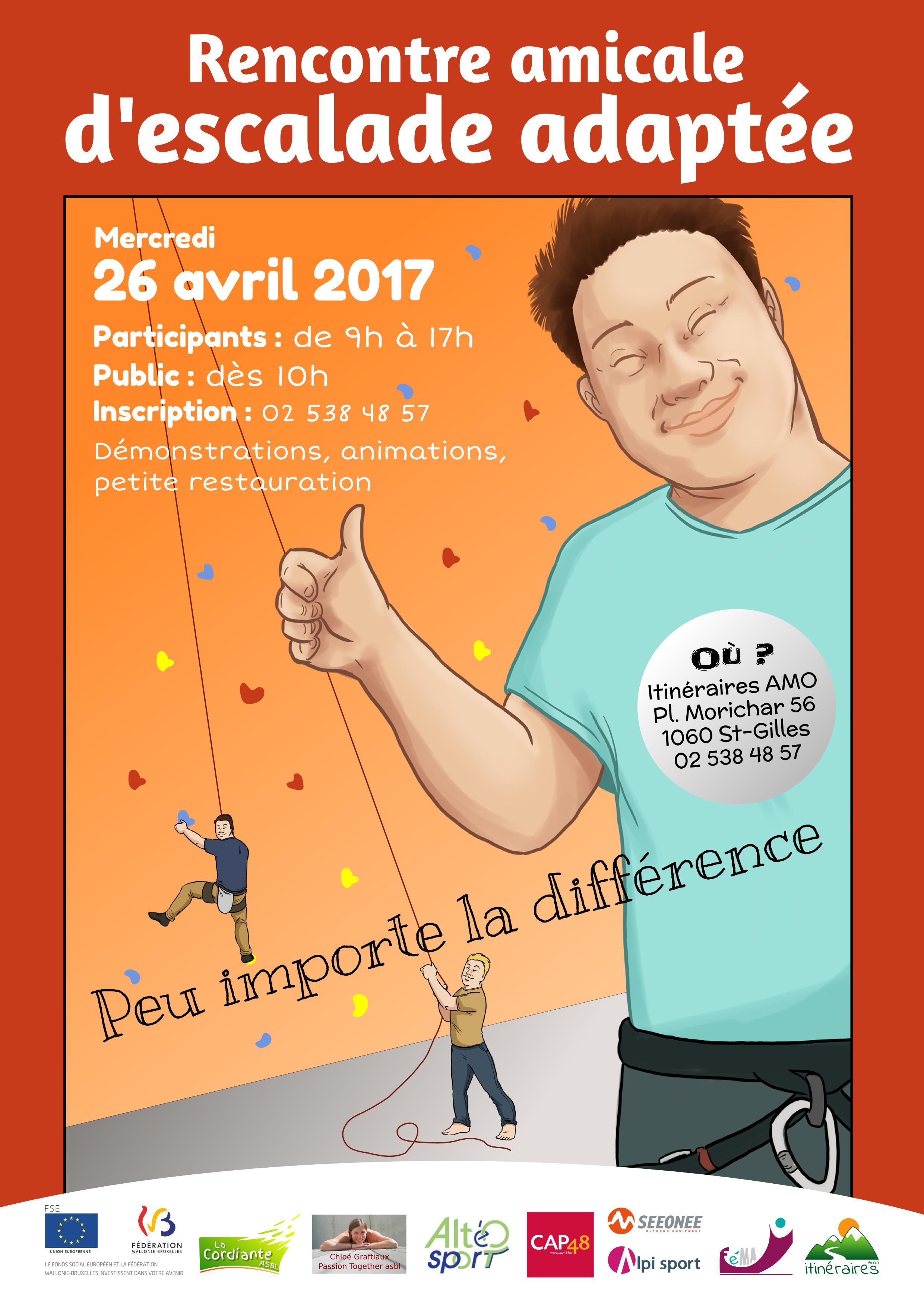 Affiche - rencontre amicale d'escalade adaptée 26-04-2017